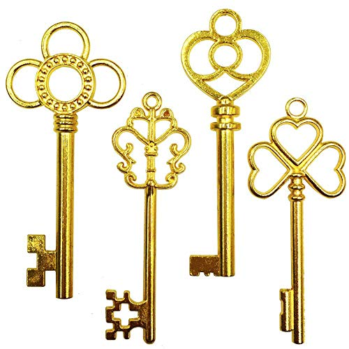 Mmei 40 pcs Large Antique Gold Steampunk Vintage Skeleton Keys for DIY Wedding Party Gifts Jewelry Necklace Pendants Decoration (4 Different Style x 10) (Key Gold)