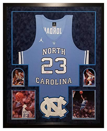 (Michael Jordan North Carolina Tar Heels Signed Autograph Authentic Nike Custom FRAMED Jersey Suede Matted Upper Deck Certified)