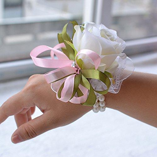 Abbie Home Girls Wrist Corsage Party Prom Wedding Bridesmaid Rose Bracelet Flower(White)