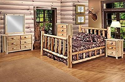 Rustic 5 Pc Pine Log Bedroom Suite Lodge Bed Set