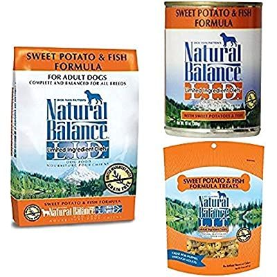 Natural Balance Limited Ingredient Diets Sweet Potato & Fish Formula - Dry Dog Food, Canned Dog Food, And Dog Treats Bundle