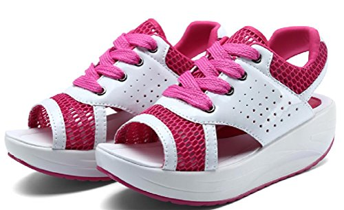 Womens Platform Peep Toe Wedges Water Shoes Casual Athletic Sandals Pink