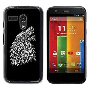 Be Good Phone Accessory // Dura Cáscara cubierta Protectora Caso Carcasa Funda de Protección para Motorola Moto G 1 1ST Gen I X1032 // Wolf Crest
