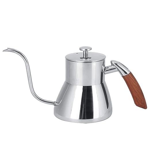 Cafetera de plata de 800 ml Tetera de acero inoxidable con mango ...