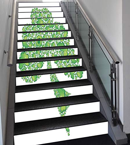 Trinity Patterns (Stair Stickers Wall Stickers,13 PCS Self-adhesive,Celtic,Irish Shamrock Figure Made with Small Clover Patterns Holy Trinity Symbol Graphic,Green White,Stair Riser Decal for Living Room, Hall, Kids Roo)