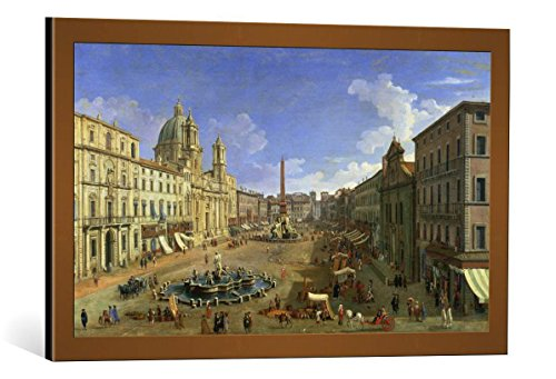kunst für alle Framed Art Print: Giovanni Antonio Canaletto View of The Piazza Navona Rome - Decorative Fine Art Poster, Picture with Frame, 29.5x17.7 inch / 75x45 cm, Copper Brushed