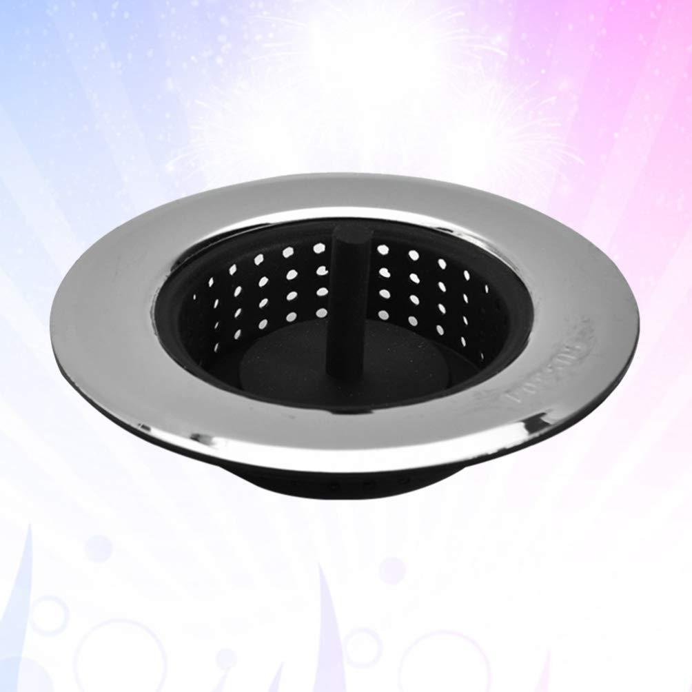 UPKOCH Lavello Cucina Cestino Filtro Acciaio Inossidabile Silicone Smaltimento Rifiuti Tappo Cucina Lavello Filtro Cestini Argento Taglia S