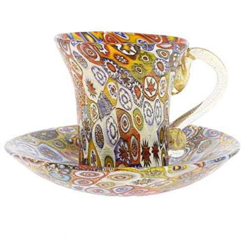 (GlassOfVenice Murano Glass Golden Quilt Millefiori Cup and Saucer )