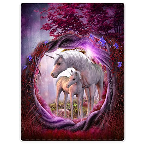 - Blankets Fleece Blanket Throw for Sofa Bed Unicorn Horse Magical Animal Rose Red Tree (50
