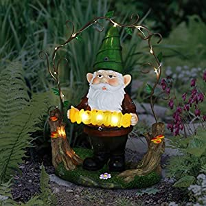 Exhart Solar Gnome Garden Statue Wwelcome Sign Green Hat Gnome Resin Statue Solar Decor Lights On Trellis Welcome Statue 14 H