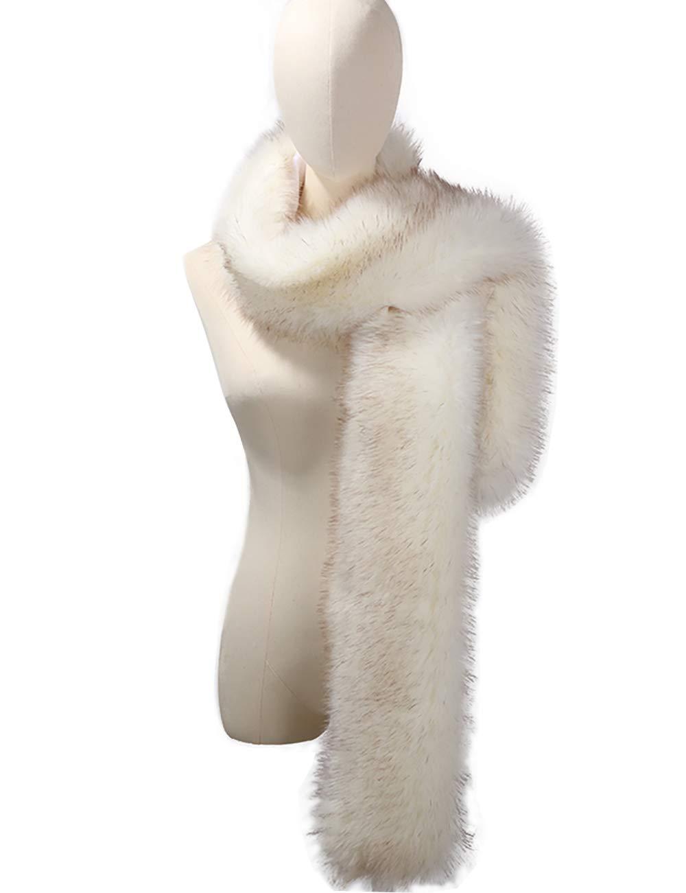 NAFLEAP Women Winter Warm Faux Fox Fur Scarf Collar Long Wrap Scarf Stole Shawl Shrug (White, Onesize)
