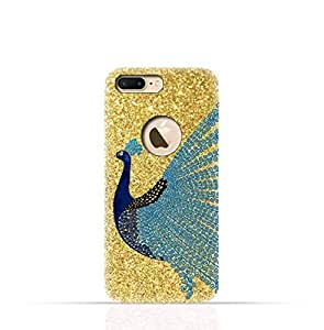 Apple iPhone 8 Plus TPU Silicone Case with Gold Glitter Dual Layer Blue Peacock Design