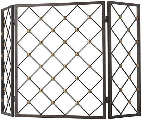 LJFPB 暖炉スクリーン 3パネルF風メッシュ 金属装飾 自立 錬鉄 スパークガードプロテクター ベビーチャイルドペット保護用、ブラック (Color : Black)