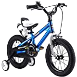 R BABY 18' INCHES FREESTYLE BMX KIDS BIKE IN COLOUR RED GREEN BLUE AND WHITE + free heavy duty adjustable removable stabilisers+ free sports wate bottle and holder (18BLUE)