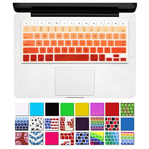 DHZ Orange Ombre Keyboard Cover Silicone Skin for 2015 or Older Version MacBook Air 13 MacBook Pro 13 15 inch (No Fit for 2018 MacBook air 13 or 2017/2016 Released New MacBook Pro 13 15)