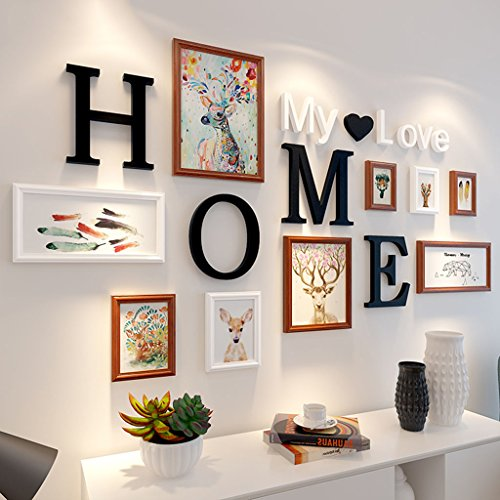 Home@Wall photo frame 9 pcs/sets Collage Photo Frame Set,Vintage Picture Frames,Family Picture Frame Wall,Wedding Photo Frames DIY Photo Frame Sets For Wall ( Color : E ) by ZGP
