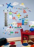 Oopsy Daisy Airport Peel and Place Wall Art, 54 by 45