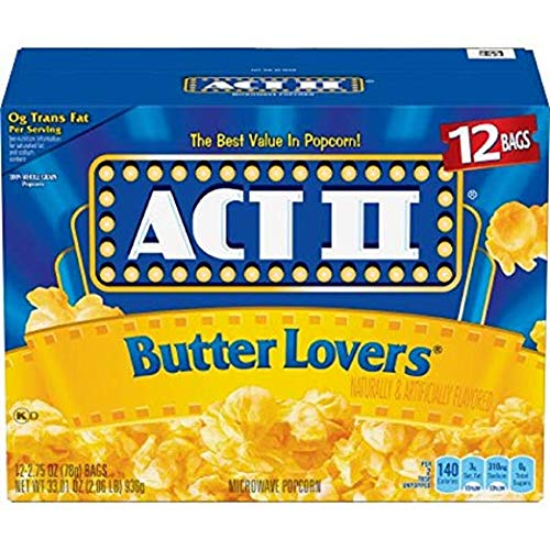 ACT II Butter Lovers Microwave Popcorn, Classic Bag, 12 Ct (Pack of 1)