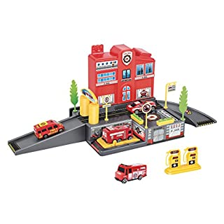 Liberty Imports Fire Station Parking Garage Toy Playset with 4 Rescue Vehicles, Car Wash, Lift, Gas Station and Accessories