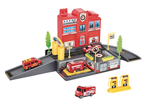 Liberty Imports Fire Station Parking Garage Toy Playset with 4 Rescue Vehicles, Car Wash, Lift, Gas Station and Accessories (Fire Station Wheels Hot)