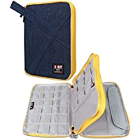 BUBM Double Layers Handy Travel Gadget Organiser, Electronics Accessories Bag / Battery Charger Case for iPad Mini and Tablet with Handle (Large, Blue)
