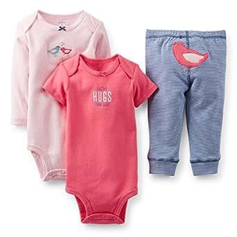 """Carter's Baby Girls' 3 Piece """"Take me Away"""" Set (Baby) - Hugs - Pink - Newborn"""