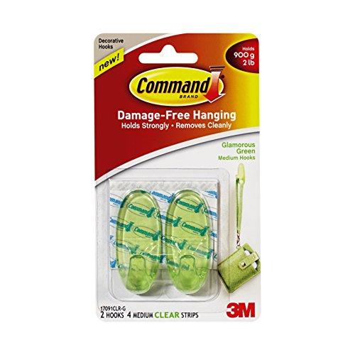 Command 17091CLR-G Glamorous Green Hooks 2 Medium Hooks, 4 Clear Strips/Pack