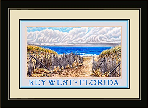 Northwest Art Mall DL-5633 FGDM AON Key West Florida Attitudes Of Nature Framed Wall Art by Artist David Linton, 16 x - Key West Mall Florida
