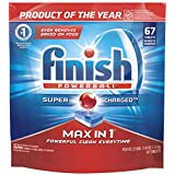 Finish Dishwasher Detergent Soap, Max in 1 Powerball Super Charged, Fresh, 74 Tablets