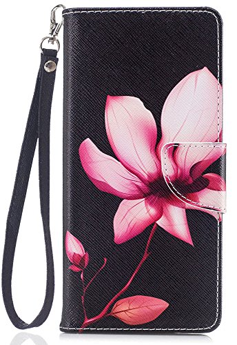 Note8 Case, Note 8 Wallet Case, JanCalm [Wrist Strap][Kickstand][Card/Cash Slots] Pattern Premium PU Leather Wallet Cell Phone Cases Flip Cover for Samsung Galaxy Note 8 + Crystal Pen (Flower Pattern)
