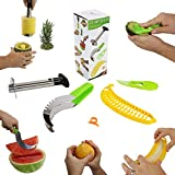 #1 Fruit Slicer Set of 5 by Coogue VALUE PACK: Pineapple Corer, Watermelon ...