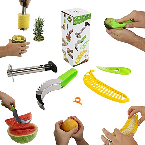 #1 Fruit Slicer Set of 5 by Coogue VALUE PACK: Pineapple Corer, Watermelon Slicer, Avocado Slicer, Banana Slicer, Orange Peeler. Enjoy your cutter knife tools a kitchen gadget to have fun with!