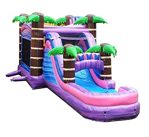 TentandTable Mega Tropical Purple Marble Single Lane Wet or Dry Slide & Bounce House Combo, 32-Foot Long by 16-Foot Wide by 16-Foot Tall, Commercial Grade Inflatable, Blower and Stakes ()