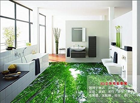 Lwcx paesaggio 3d pavimentazione sfondo verde foresta di bamboo 3d