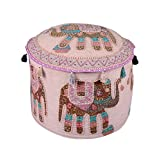 Decorative Ottoman Beige Cotton Elephant Patch Work Pouf Cover By Rajrang
