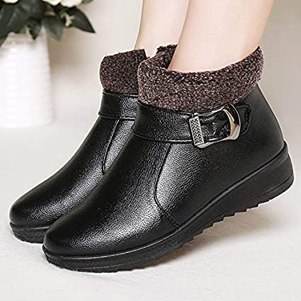 f2fb03b2f0861b Amazon.com  GOP Store Women Boots Fashion Buckle pu Leather Winter ...