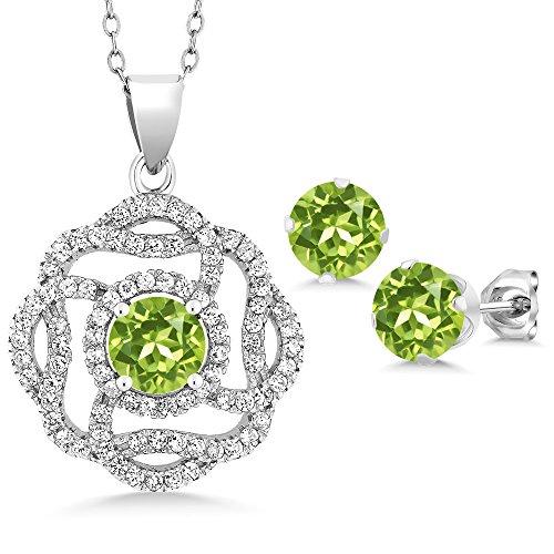 4.61 Ct Round Green Peridot 925 Sterling Silver Pendant Earrings (Green Peridot Pendant)