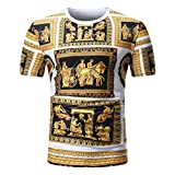 GREFER Men Summer Casual African Print O Neck Pullover Short Sleeve T-shirt Top Blouse