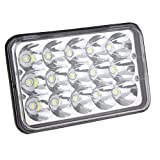 4x6 LED Rectangular Headlight Sealed Beam Replacement HID Xenon H4651 H4652 H4656 H4666 H6545 Sealed Beam Clear Glass Lens(4x6)