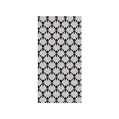 (Decorative Privacy Window Film/Halloween Horror Theme Spooky Black Skulls Checkered Pattern with Skeleton Bones/No-Glue Self Static Cling for Home Bedroom Bathroom Kitchen Office Decor Black)