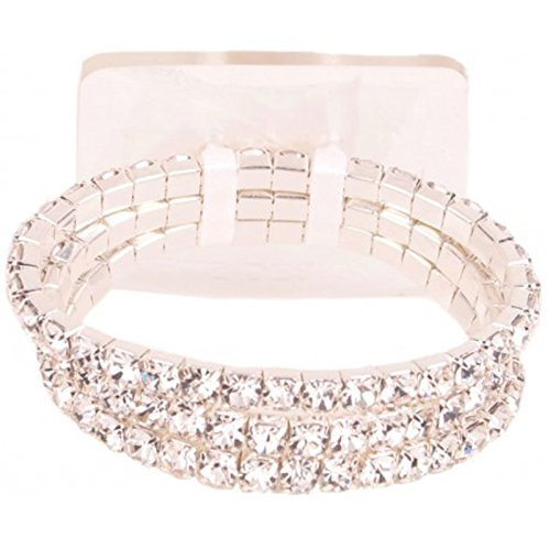 Rhinestone Triple Strand - Elegant Triple Strand Rhinestone Corsage Stretch Bracelet for Smaller Wrists- Use for Corsages, Formal Wear, Bouquet Wraps and More