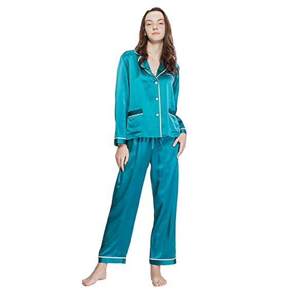 c28372e6fe LILYSILK Ladies Silk Pyjamas Set Long Ladies Nightwear 2 pcs 22 Momme V  Neck Thick Trimmed