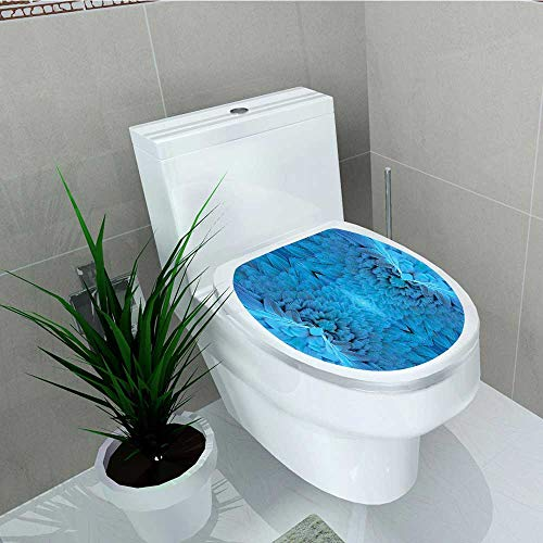 Analisa A. Houk Decoration Bathroom Toilet Cover Sticker Close Set Macaw Bird Wing in Symmetrical Axis Blue Restroom Wall Decals W14 x L14 ()