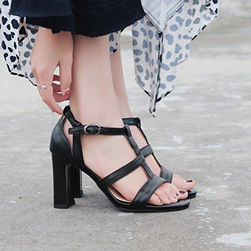 JIEEME Ladies Sweet Block Heels High Heels Buckle Strap Women Sandals Black Wine Red Women Shoes Black OoLXdxqDv8