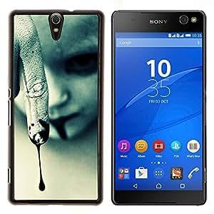 Vampiro de Halloween oscuro gótico- Metal de aluminio y de plástico duro Caja del teléfono - Negro - Xperia C5 E5553 E5506 / C5 Ultra
