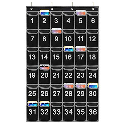 Godery Numbered Classroom Pocket Chart for Cellphone and Calculator holder, 36 Hanging Wall or Door Organizer (36 Pocket)