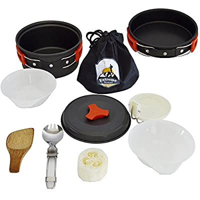 Camping Mess Kit Cookware Pots and Pans Lightweight Backpacking & Hiking Equipment Outdoor Cooking Gear, 10 Piece Cook-set, Durable and Compact, Pots, Bowls and Utensils