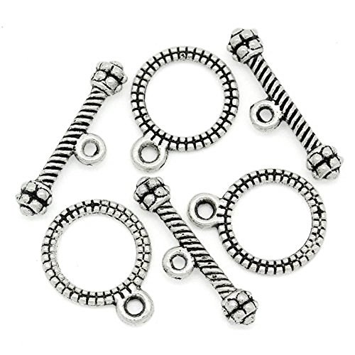 Rockin Beads Brand, 100 Complete Antiqued Silver Pewter Toggle Clasps Small Loop Jewelry -