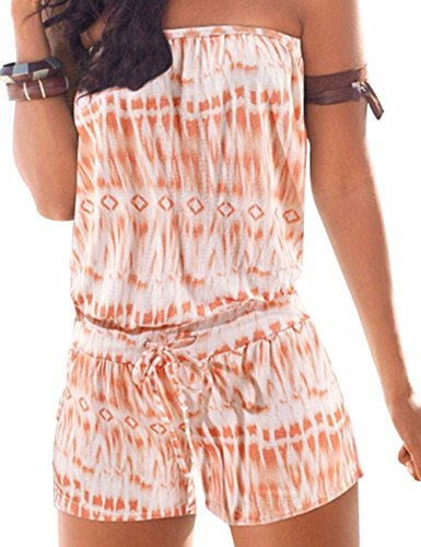 Sexyshine Women's Strapless Off Shoulder Printed Beachwear Short Rompers Jumpsuits Orange,L