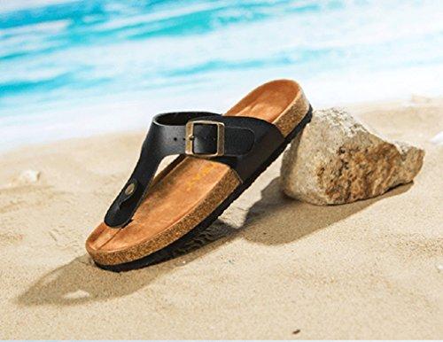 Mujer / Hombre Planas Sandalias del dedo del pie del clip Chancletas Flip Flop Verano T-Correa Zapatos de la playa Chic Zapatillas 36 Negro O2NZWuzFi